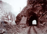 [Central Tunnel, Canon of Grand River, Col. D& RGRY. C. R. Savage Photo.