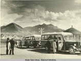 Mt.McKinley Park tour buses and passengers at McKinley rail station, ca 1930's.