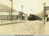Train entering Broadway at Skagway, ca. 1930's.
