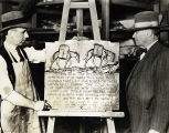 "Photo of Dead Horse Gulch plaque with ""Packer Jack"" Newman at the right and Sculptor..."