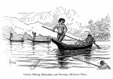 Indians raking oolochans and herring, Stickeen (sic) River.