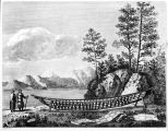 Drawing of the ribbing of a canoe on beach at Port des Francais.