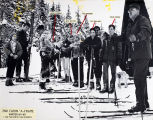 "Group of young skiers at 2nd Cabin ""A-Frame"", Dan Moller Ski Trail, winter 1964-65."
