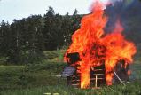 3rd Cabin tow shack being burned by Juneau Ski Club members.