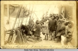 Natives of Kitzebue Sound. Arctic Ocean. Trading on board U.S.S. Thetis.