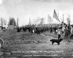 Decoration Day, May 30th, 1938.  Anchorage, Alaska.  Parade approaching cemetery.
