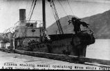 Alaska whaling vessel operating from shore station, harpoon gun in bow