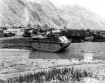 [Massacre Bay, Attu, Aleutian Islands: amphibious tractor landing, other heavy equipment and tents...