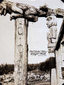 Totems in front of Shakes home; Chief Shakes' Totems, Wrangell, Alaska.