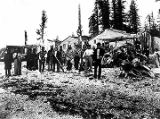 [Tlingit Indian village on Tongass Island,.1868-69, with natives wearing ceremonial blankets...