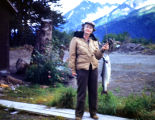 Dorathea with salmon at Portage 1949.