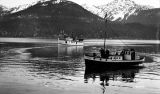 [U.S. Army ship PETERSON with drafted men at Juneau; the TILLACUM, right foreground.]