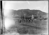 [22nd Infantry Regimental Band and others in Company marching on the Parade Ground.]