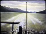 [Scenic; wake viewed from the stern of a boat.]