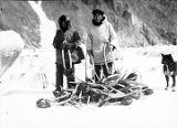 [Two Eskimo men standing with pile of walrus heads.]