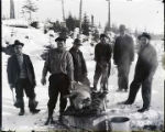 [Pig killed for Thanksgiving dinner, six men standing around dead pig. Mike Caruso, James Hanson,...