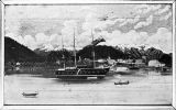Photo of sketch showing sailing ships in the channel of Sitka in 1860 per Andrews in the Story of...