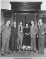 Legislators standing in front of the House of Representatives,  Alaska Territorial Legislature, ...