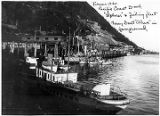 "Juneau 1920 Pacific Coast Dock ""Explorer"" & fishing fleet ferry boat..."