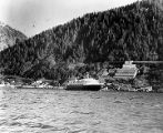 Verso: M/V Taku at Juneau ca. 1964 [near stamp mill south of town].