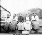 Old Thlinget [Tlingit] Women. Funter Bay, Alaska. Copyright 1907 by Case and Draper.