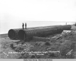 W.M. Johnston & Co. floating Breakwater.  Length 150 ft. diam. 9 ft.  Nome, Alaska. 1905.