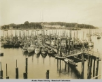Fishing fleet at one of the only floats. U.S. Navy Radio Station in background.