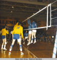 Volleyball. Ball sails past two players in air. Teammates and opposing players look on.