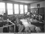 Children in classroom of the BIA School, which burned in fall of 1942.