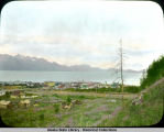 View of Seward, Alaska and harbor taken from a hillside.