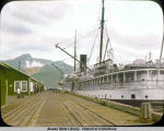 Landing of S.S. NORTHWESTERN from Alaska and warehouses.  Seward dock.