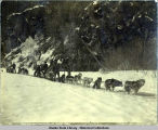 Yukon dog team freighting through canyon. Alaska. c. 1897.