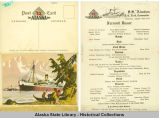 S.S. Aleutian Farewell Dinner Menu, August 25, 1928.