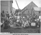 Yakutat natives in potlatch dancing costume's.  Sitka, Alaska, Dec. 9th, 1904.