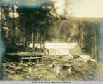 Several tents and buildings in a forest clearing with two women and three men in center.