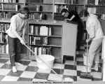 Spring Cleaning at the library 6/67 (Mary Cumings, Dale DeArmond, Marquerite Fiorella).