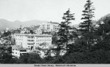 Ketchikan, Alaska. Ketchikan General Hospital, left foreground, Main school above.