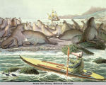 Aleut in a qajaq (kayak) off the coast of St. Paul; sea lions on the beach; large sailing ship in...