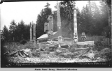 Indian totems and graves, Howkan, Alaska. Copyright 1897.