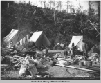 Camp of Auk Indians, Alaska. Copyright 1896.