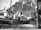 Iced-over boats in Juneau harbor, ca. 1922.