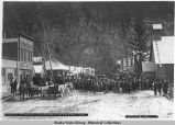 Funeral of Frank Ried [sic] on the street of Skagway 1898.