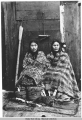 Studio crafted portrait of Tlingit women selling curios.