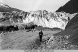 Mendenhall Glacier and parking lot in front built by the U.S. Forest Service, 1948.