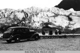 Mendenhall Glacier and car in parking lot, 1948.