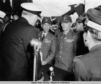 Chief of Staff speaking to Japanese officials during Japanese surrender ceremony.