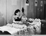 Lilly Abbot Nigh, Haines, Alaska, skin sewing, 1-2-47.
