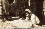 Attu Basket making - Chief Zaochney's wife, Atka - 1915.