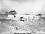 Exterior view: construction of qargi or uniivik, a workshop for working on an umiak.
