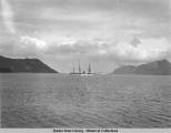"US Revenue Cutter ""Thetis"" in Unalaska Harbor."